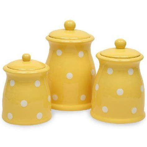 yellow polka dots 3 pc canister set would love this in lime aqua or red decorating kitchen