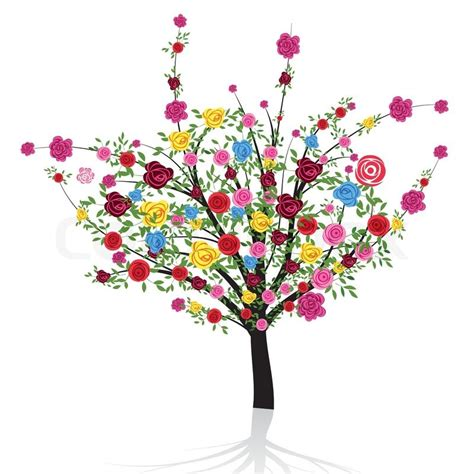 colorful tree abstract colorful tree with flower stock vector