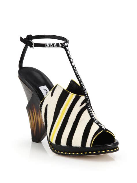zebra print sandals lyst jimmy choo studded geometric zebra print calf hair
