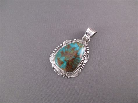 Will Denetdale Sterling Silver & Kingman Turquoise Pendant   Two Grey Hills
