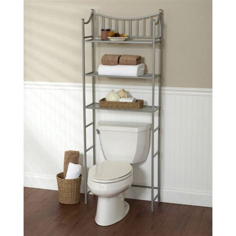 Shelf Toilet by Metal Spacesaver Bath Storage Rack 3 Shelf Satin Nickel