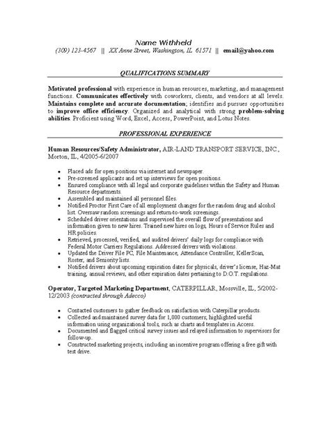 human resources resume exle sle resumes for the hr