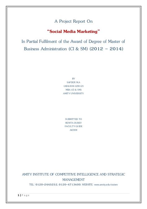 Mba Project Report On Social Media Marketing by A Project Report On Social Media Marketing