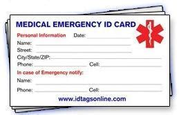 emergency id card template 10 best photos of diabetic id card free printable