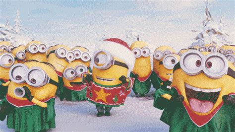 happy holidays holiday party minion nation gif find  gifer