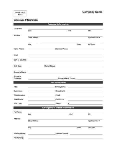 employee information form template employee information form office templates
