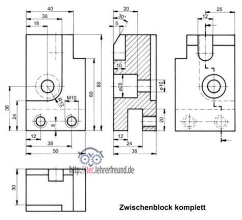 Schnittdarstellungen In Technischen Zeichnungen by Projektionszeichnen 3 Tec Lehrerfreund