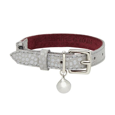 cat leather luxury ghost leather cat collar chelsea cats