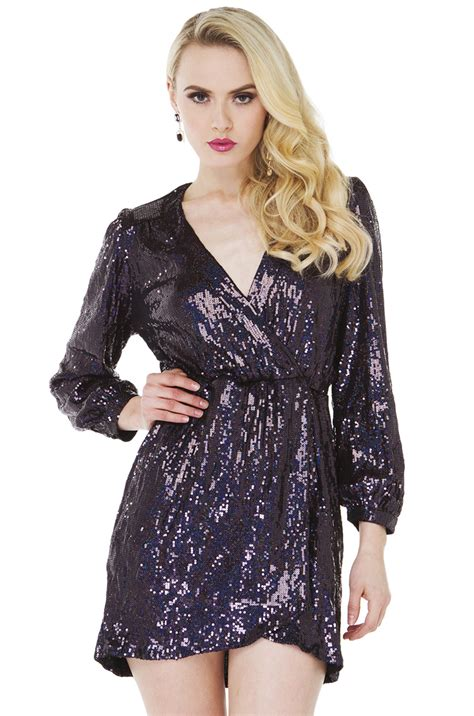 Owl Dress Sparkle Shine sparkle shine sequin dress in eggplant