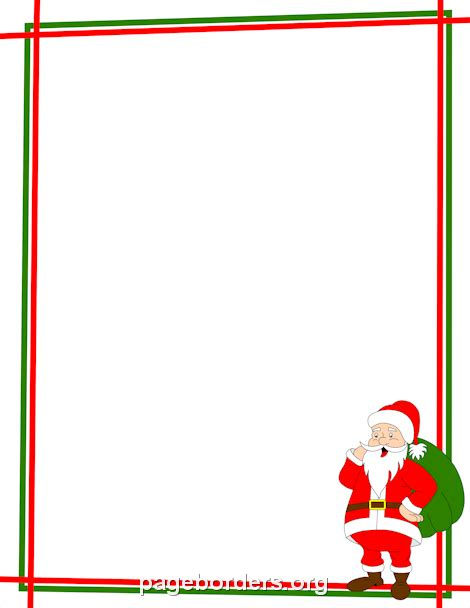 free santa letterhead template santa claus border winter stationery only