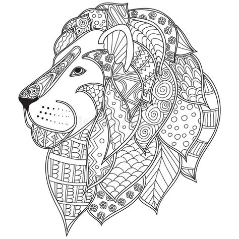 abstract lion coloring pages hand drawn ornamental outline lion head illustration
