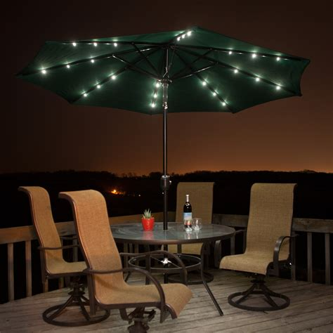 Coral Coast 9 Ft Aluminum Solar Lighted Push Button Tilt Solar Lighted Umbrella Patio