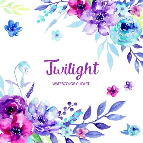 watercolor clipart twilight blue  purple flowers