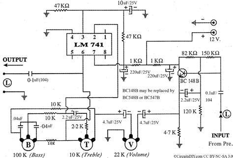 bass treble circuit diagram low cost effective bass treble circuit using op 741