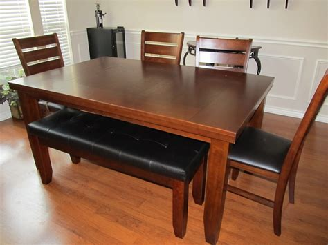 Dining Room Tables With Bench Seating Simple Cheap Untreated Mahogany Dining Table With Bench Seats Rustic Brown Polished Room