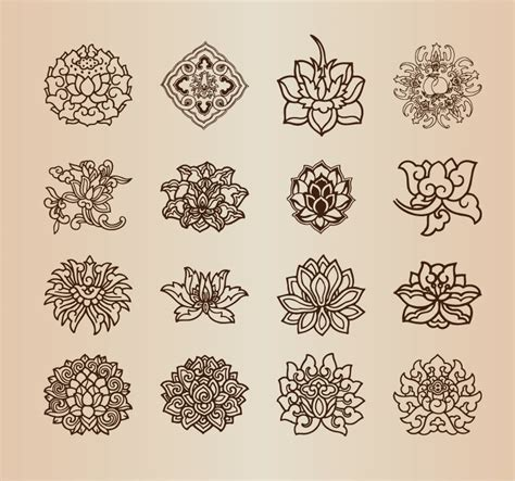flower pattern vector graphics vintage flower pattern elements vector set free vector