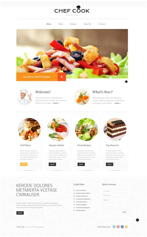 web cuisine cooking responsive website template 50904