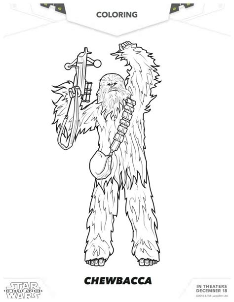 coloring pages wars awakens wars the awakens chewbacca coloring page