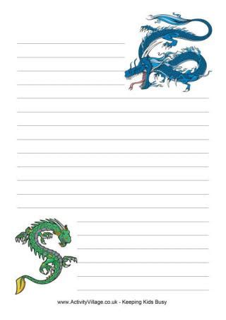 activity village printable writing paper dragon printables