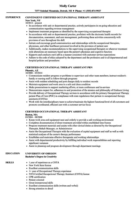 Certified Occupational Therapy Assistant Resume Sles Velvet Jobs Occupational Therapy Assistant Resume Template