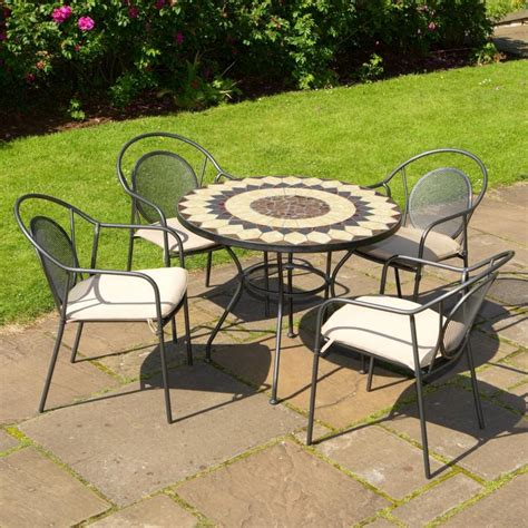 Garden Bistro Chairs Buy Montreal Metal And Mosaic 4 Seat Garden Bistro Set From Patioplus Co Uk