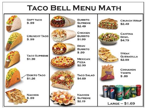 taco bell light menu taco bell 174 menu prices updated for 2017