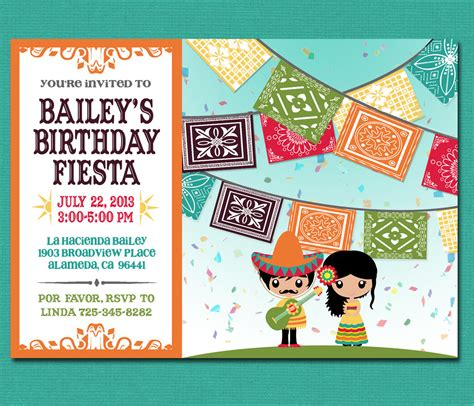 print yourself kid s mexican invitation by cardvarkdesigns