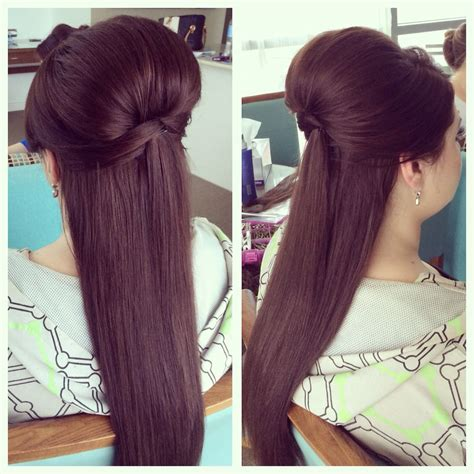 wedding hairstyles using extensions wedding hair shiny sleek straight half up down style