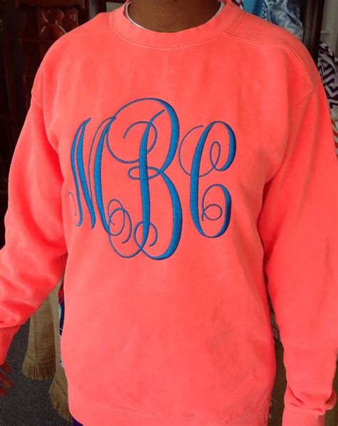 Monogrammed Comfort Colors Sweatshirt by Monogrammed Comfort Color Crew Neck Sweatshirt By Sewwhatar