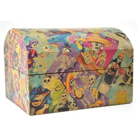 Decoupage Memory Box - day of the dead decoupage chest handcrafted wooden box