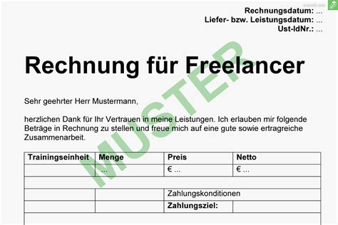 Musterrechnung Beratung Gratis Musterrechnung F 252 R Freiberufler Everbill Magazin