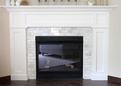 marble subway tile fireplace surround lovesome fireplace makeover