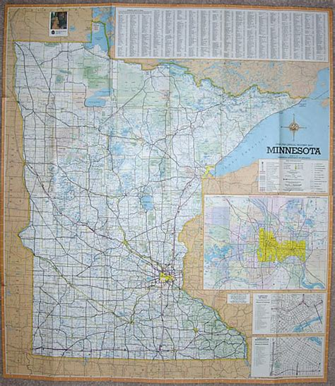 Route Drawer Map by 1968 69 Official Highway Map Minnesota