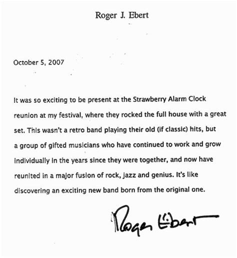 Closing Letter With Thank You At The With Strawberry Alarm Clock