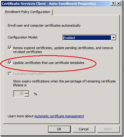update certificates that use certificate templates moving