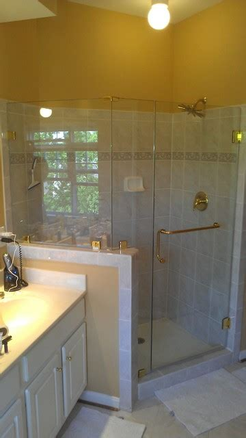 frameless shower  knee wall traditional bathroom