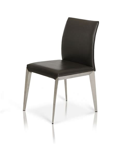 Eco Dining Chairs Daytona Modern Grey Eco Leather Dining Chair Set Of 2