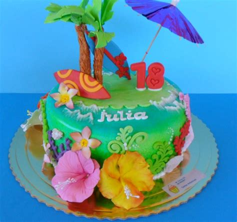 imagenes de cumpleaños hawaiano tartas artisticas tarta fondant hawaiana
