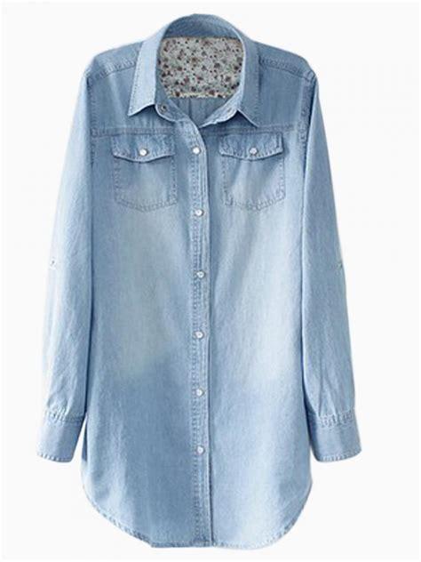 Light Denim Shirt by Longline Oversize Denim Shirt In Light Stonewash Choies