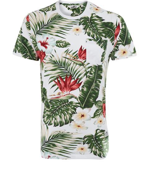 flower design shirts lyst penfield white mahaka floral print tshirt in green