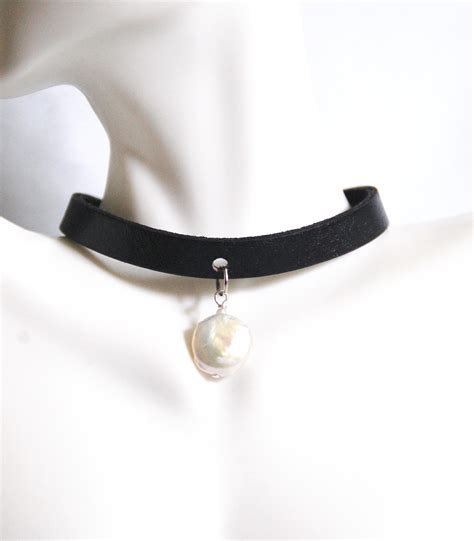 pearl collar genuine leather choker necklace with cultured fresh water pearl from ferozasjewelry