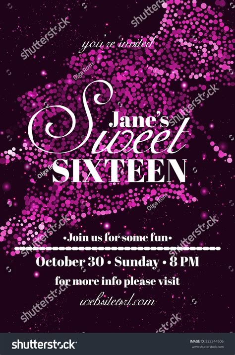 Sweet Sixteen Glitter Party Invitation Flyer Stock Vector 332244506 Shutterstock Glitter Invitation Template