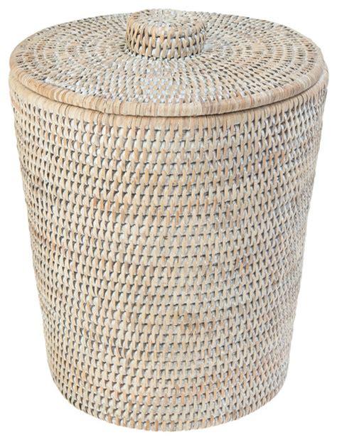 Oblong Bathroom Sinks - la jolla rattan round waste basket with plastic insert amp lid white wash tropical