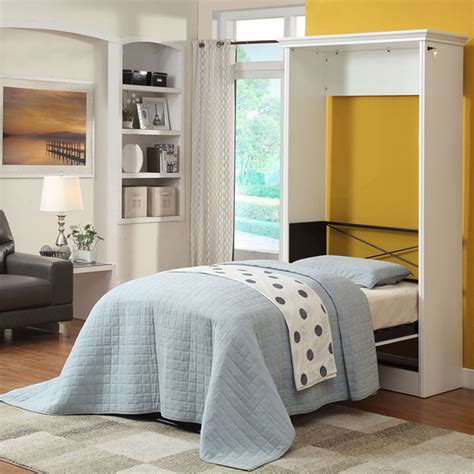 twin murphy bed stella twin murphy bed with 2 storage cabinets white