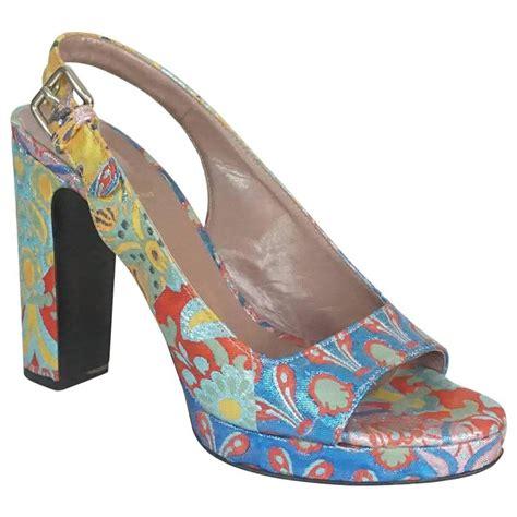 coloured patterned heels miu miu multi colored patterned brocade open toe slingback