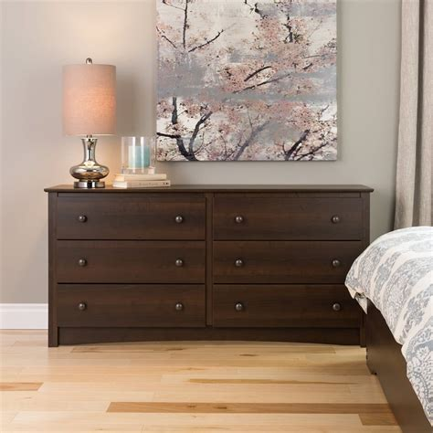 espresso bedroom dresser shop prepac furniture fremont espresso 6 drawer dresser at