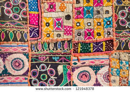 Indian Patchwork - indian patchwork carpet in rajasthan asia stock photo