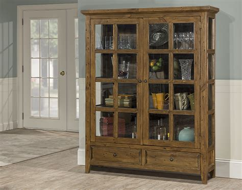 tuscan retreat display cabinet  doors  drawers  clear glass antique pine