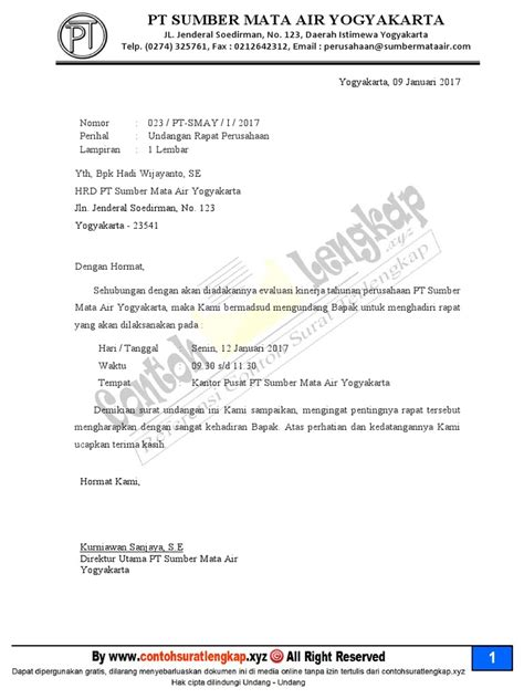 Surat Undangan Resmi Perusahaan by Contoh Surat Undangan Rapat Perusahaan