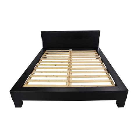 69 Off Black Solid Wood Queen Sized Bed Frame Beds Second Bed Frames For Sale